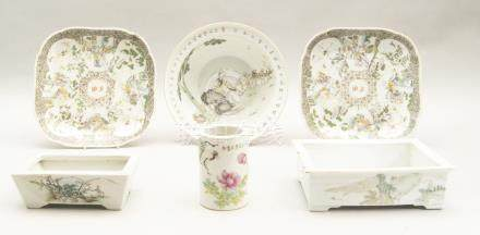A pair of Chinese porcelain square dishes, 19th century, bearing initials to the centre, decorated