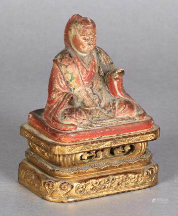 AN 18TH/19TH CENTURY CHINESE POLYCHROME PAINTED AND CARVED WOOD FIGURE OF BUDDHA,