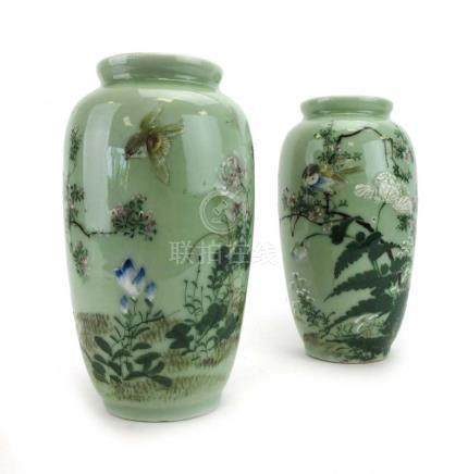 A pair of early 20th century vases of ovoid form,