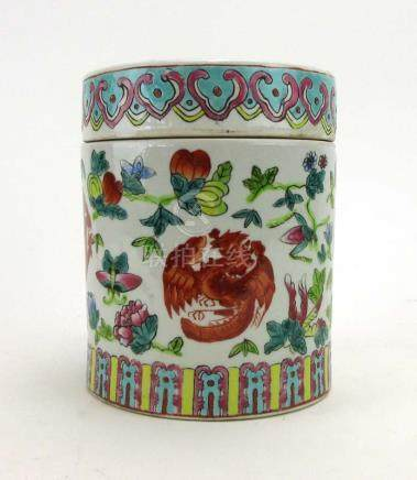An early 20th century Cantonese jar and cover of cylindrical form,