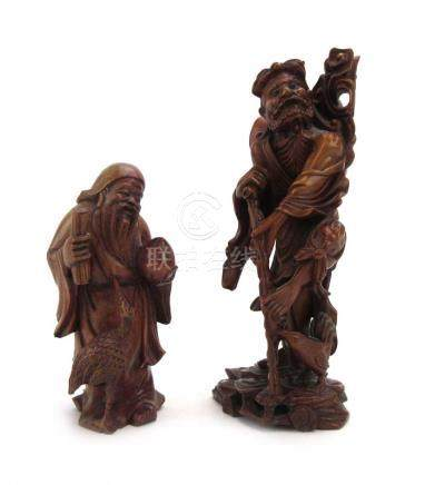 A Chinese boxwood carving modelled as a travelling elder, h.