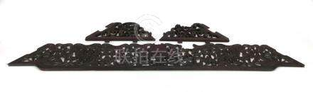 A 19th century Chinese fretwork rosewood carving decorated with foliate motifs, l.