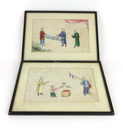 A pair of Chinese paintings on pith paper depicting a child at play and figures inspecting a scroll,