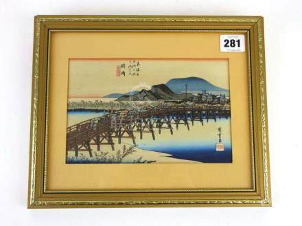 After Hiroshige (1797-1858), A view of the Yahagi Bridge at Okazaki, coloured woodblock print,