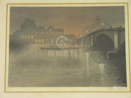 Japanese School (late 19th/early 20th century), A study of a European river bridge,