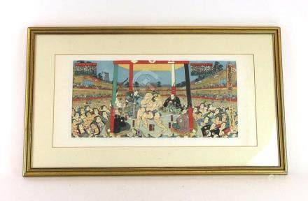 After Ichiyosai Toyokuni (1823-1880), 'Sumo', coloured woodblock print,