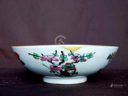 Chinese famille rose bowl decorated with peaches and blossom, 20cm diameter and 7cm high.