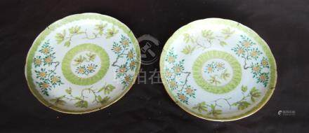 Pair of Chinese early 20th century famille verte dishes, lobed, with lime green banding and floral