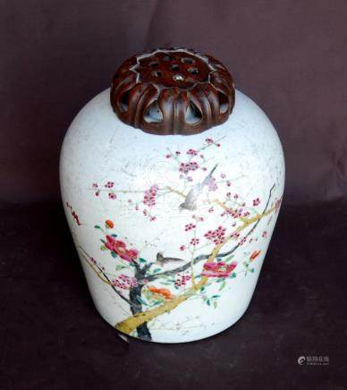 Chinese 19th century famille rose vase of high shouldered form decorated with birds amongst