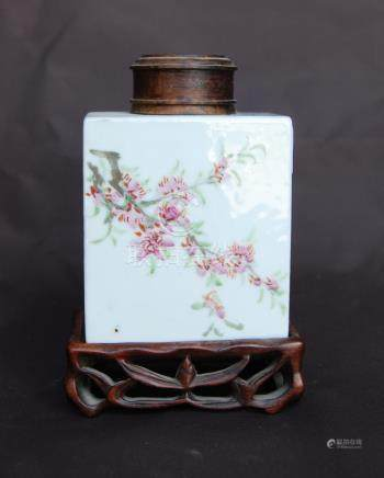 Small 19th century Chinese famille rose tea bottle decorated with flowers, with wooden stand and