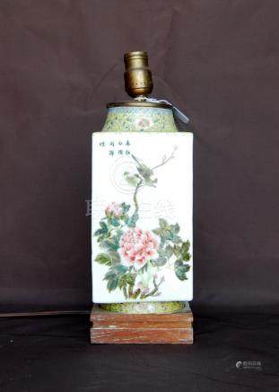 Early 20th century famille rose vase of square section with bird and flower decoration, 26.5cm