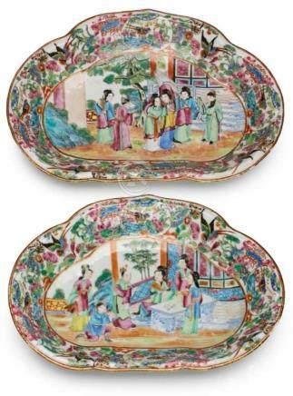 "Paar Schalen, Kanton, China um 1850.Porzellan m. buntem Emaillefarbendekor d. sog. ""Familie Rose""."