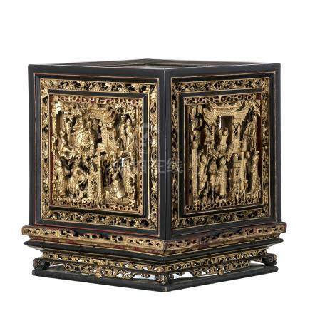 Chinese lacquer and giltwood lantern