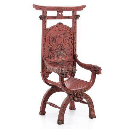 Chinese chair in cinnabar lacquer