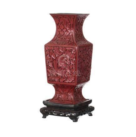 Cinnabar Chinese lacquered gu vase