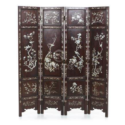 Inlaid Floor screen hongmu and mother-of-pearl
