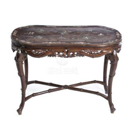 Chinese inlaid table 'bamboo'