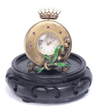 Petite montre de table vers 1900 avec encadrement à la couronne de perles et rubis