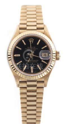Rolex, montre bracelet pour femme modèle Oyster Perpetual Datejust avec bracelet Jubilé en or .750
