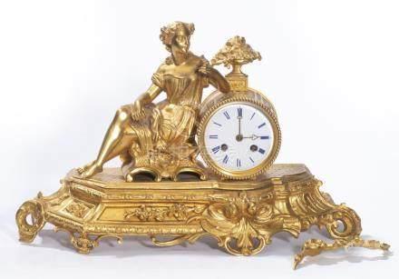 Horloge de table en bonze doré de style Louis XVI et d'époque Nap. III