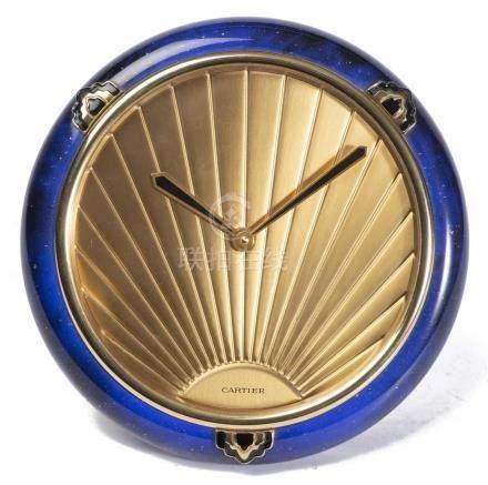 Cartier, Must de, pendulette de bureau lapis-lazuli d'inspiration Art déco
