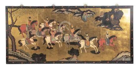 Paravent chinois à 4 panneaux représentant des cavaliers chinois