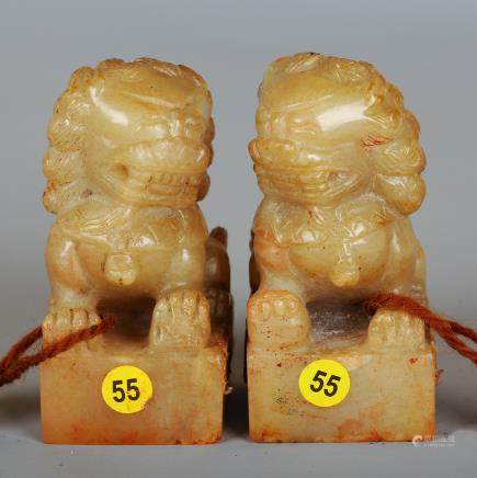 CHINESE PAIR OF SOAPSTONE FOOLIONS