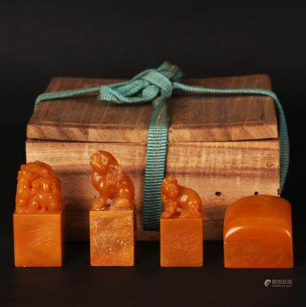 CHINESE SET OF 4 SOAPSTONE SEALS