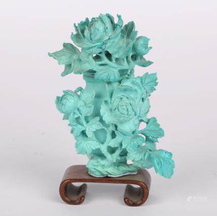 CHINESE TURQUOISE CARVED FLOWER VASE W/ STAND