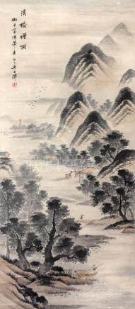 吳石僊  溪橋煙雨