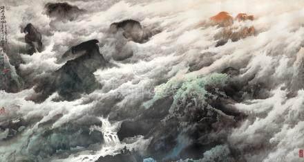 龐泰嵩  瀑雲春響
