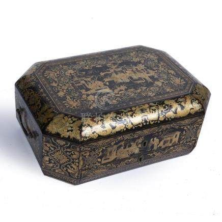 Black lacquer and gilt sewing box Chinese, early 19th Century, with fitted interior and various