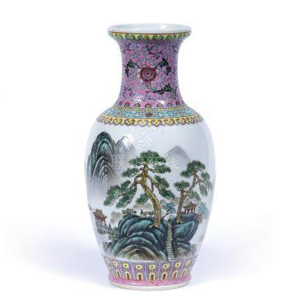 Polychrome baluster vase Chinese, 20th Century, painted with a landscape scene, red seal mark to