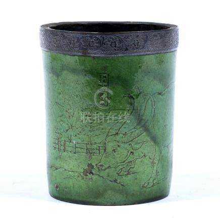 Glazed pottery brush pot probably Devon pottery, circa 1930, with metal rim inscribed The Encounter,
