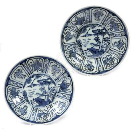 Pair of Chinese blue and white dishes after Kraak originals, 25.5cm