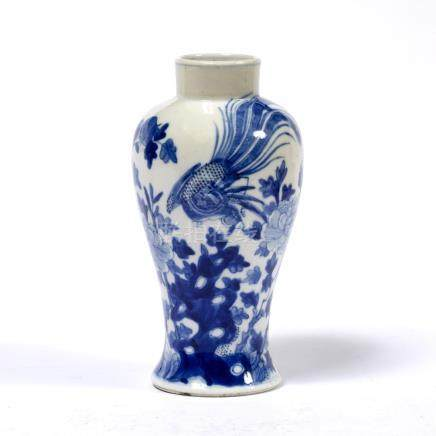 Small blue and white baluster vase Chinese, 19th Century, painted with phoenix and peony, Guangxu