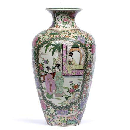 Polychrome tapering vase Chinese, painted in famille verte colours with panels of garden and terrace