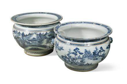 A near pair of large 19th century Chinese blue and white jardinieres, with lion mask handles, 43 x