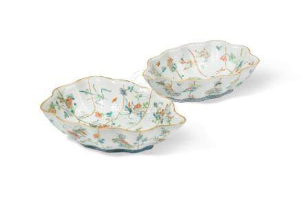 Two similar Chinese famille rose leaf shaped dishes, Tongzhi (1862-1874), each decorated with