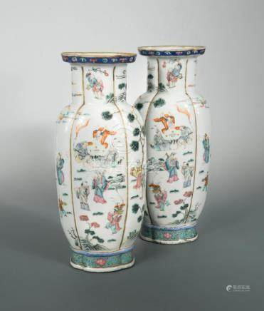 A pair of Chinese famille rose vases, Qing Dynasty, second half of the 19th century, of slender