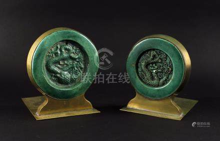 Pair of Bronze Inlay with Green Glaze Tile Ming Book End