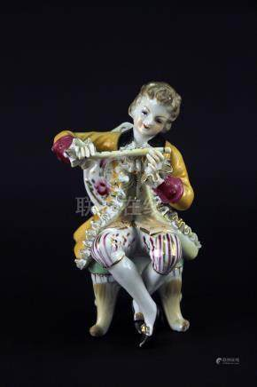 Europe Porcelain Court Musician Statue