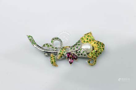 Silver Inlay with Pearl Ruby and Diopside Brooch