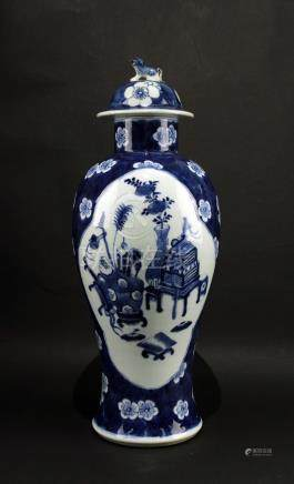Blue and White Plum& Hundred Antiques Figure Jar Late of Qing