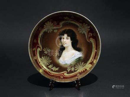 Royal Vienna Hand Painted Porcelain Cabinet Plate of a Beauty, circa 1900