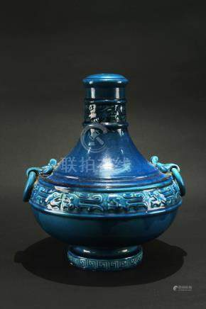 Blue Glaze Vase For Lamp Holder Made in Italy