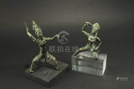 Two of Cambodian Bronze Buddha Statue