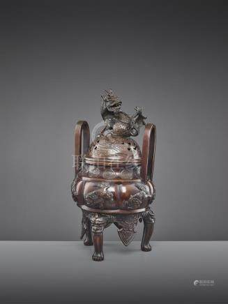 A BUDDHIST BRONZE CENSER 19TH CENTURY