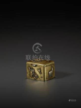 A GOLD AND SILVER INLAID SENTOKU BOX