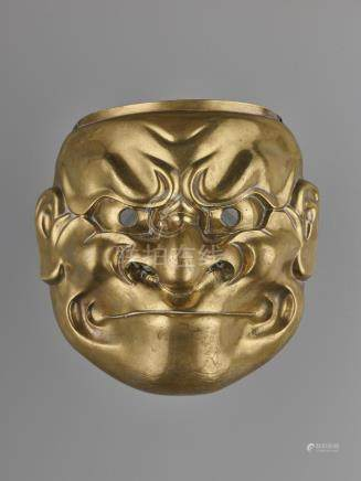 A LARGE BRONZE O-BESHIMI MASK